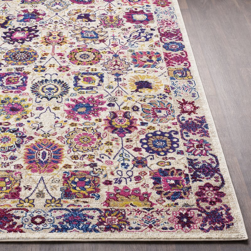 Bungalow Rose Walferdange Floral Bright Pink Blue Area Rug