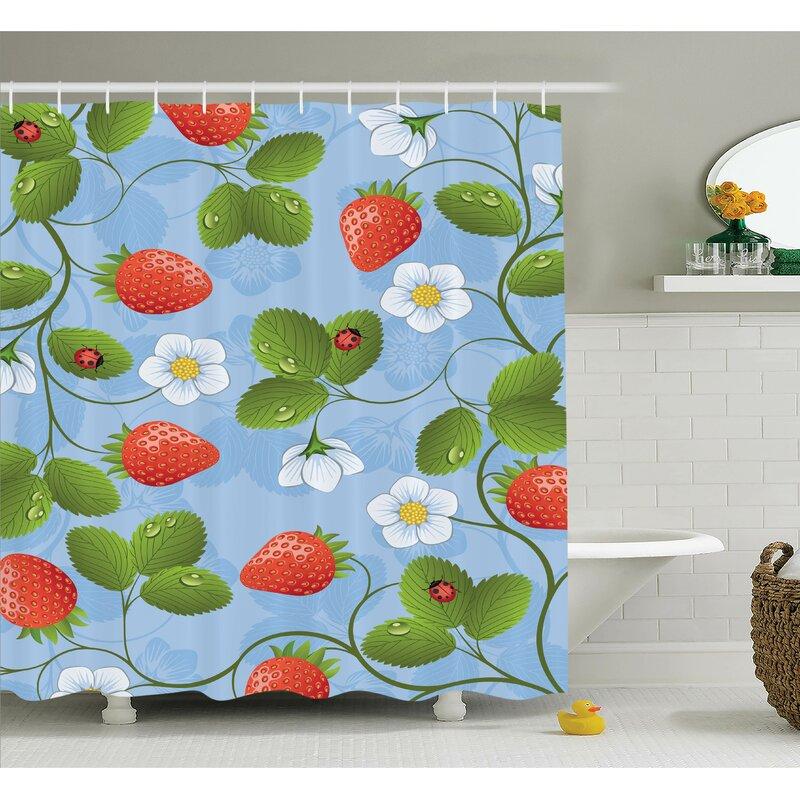 Floral Strawberry Daisy Retro Shower Curtain Set