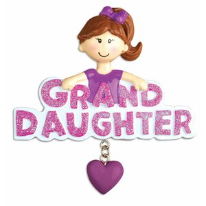 Granddaughter Family General Shaped Ornament with Dangling Heart