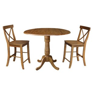 Spotts 42 Round Top Pedestal Extending 3 Piece Counter Height Drop Leaf Dining Set