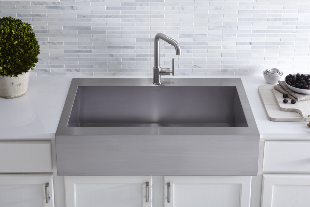Kohler vault top mount single bowl stainless steel kitchen for Best quality stainless steel kitchen sinks