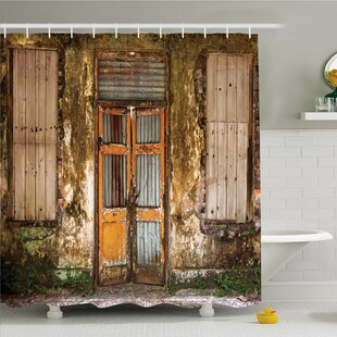 Rustic Home Damaged Shabby House With Boarded Up Rusty Doors And Mould Windows Decor Shower Curtain Set