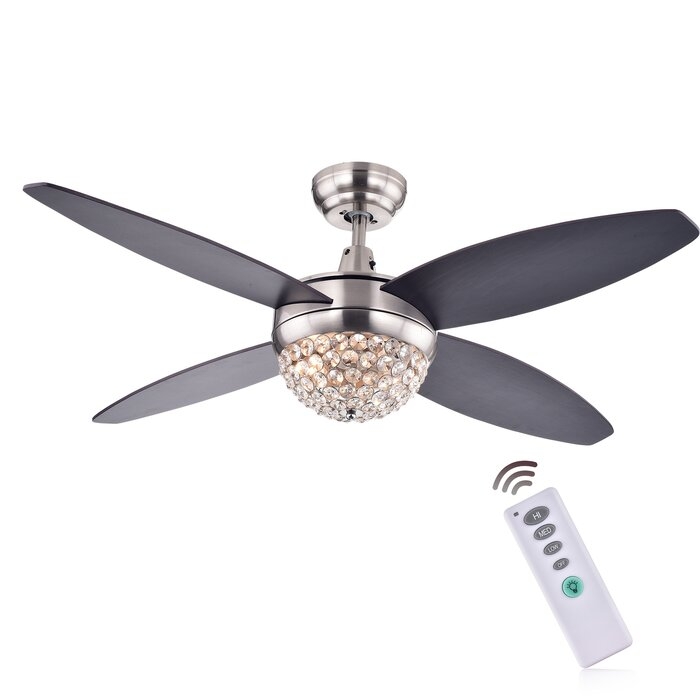 Rosdorf park 52 aurora 2 light wood crystal 4 blade ceiling fan 52 aurora 2 light wood crystal 4 blade ceiling fan with remote mozeypictures Choice Image