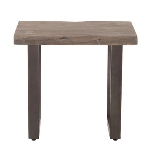 Winterville 28 Inch Weathered Grey Side Table With Gun Metal Legs