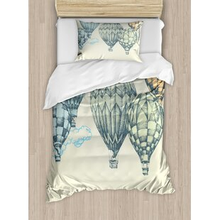 Vintage Hot Air Balloons In Soft Tone Fly Sky Lighter Than High Tourism Artful Duvet Cover Set