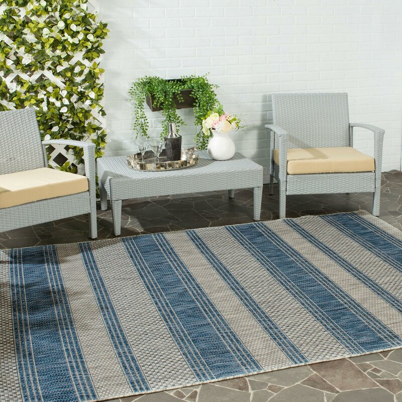 Beachcrest Home McCall Gray/Navy Indoor/Outdoor Area Rug & Reviews ...