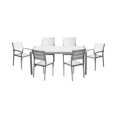 Brayden Studio Kimberly 7 Piece Dining Set Color: White