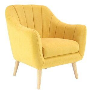 Veasley Modern Wood and Fabric Cushioned Armchair