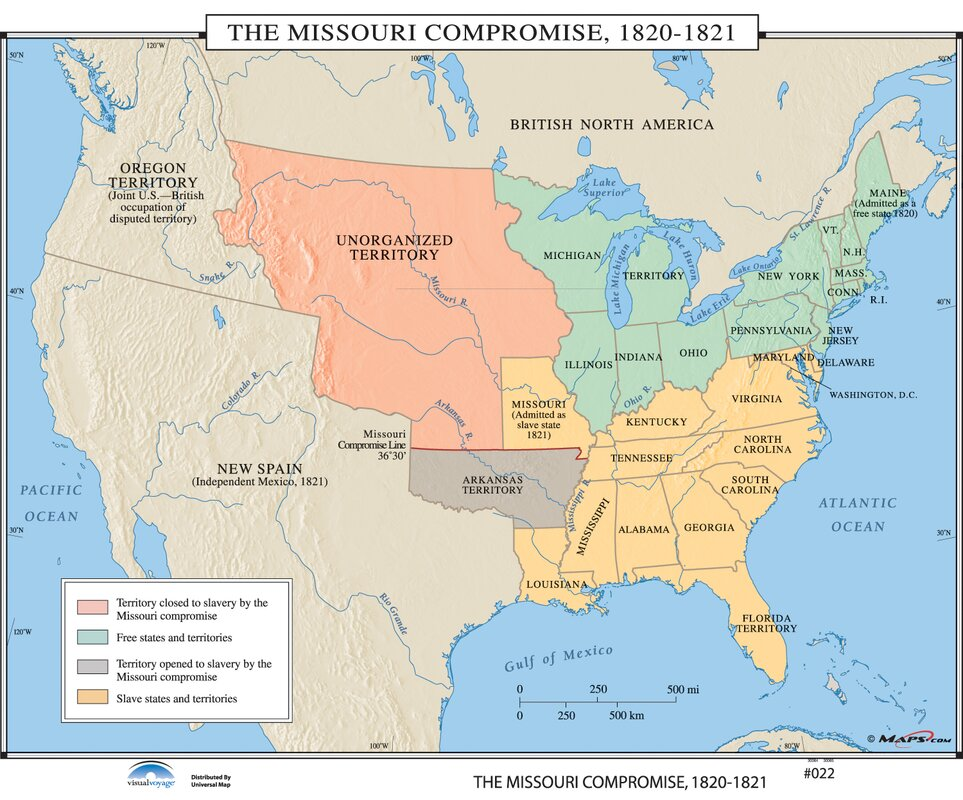 Universal Map US History Wall Maps Missouri Compromise - Missouri on map of us