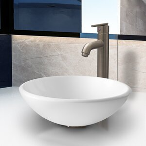 White Phoenix Glass Circular Vessel Bathroom Sink with Faucet