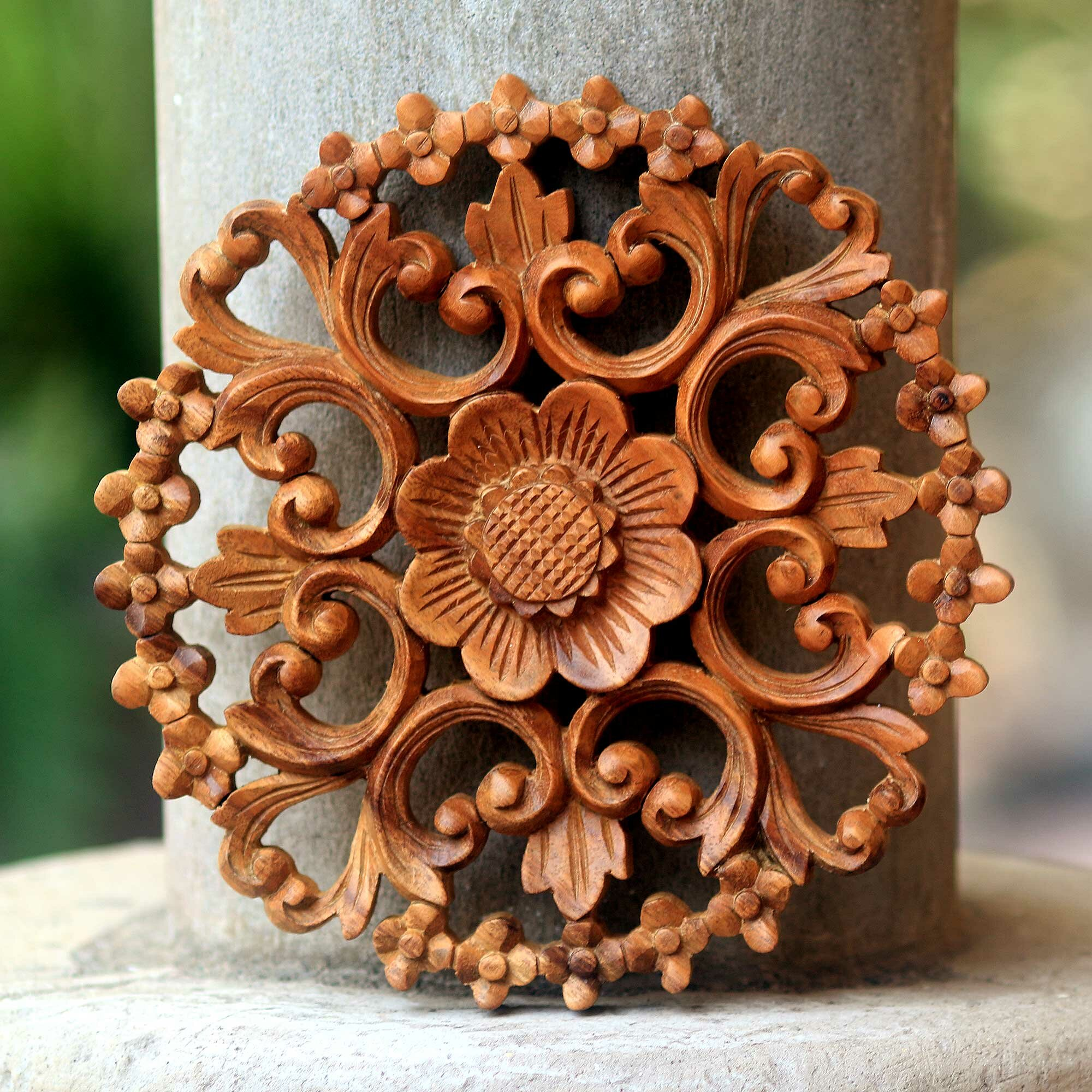 Novica halo of flowers balinese artisan hand carved floral wood