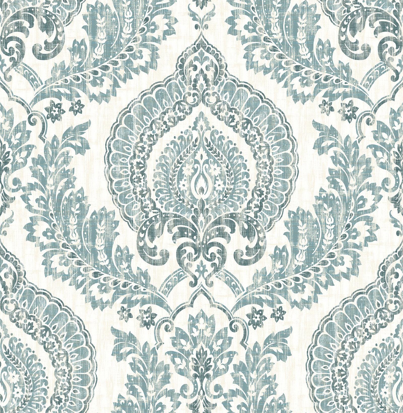 "wallpops! nu 18' x 20.5"" kensington damask blue wallpaper roll"