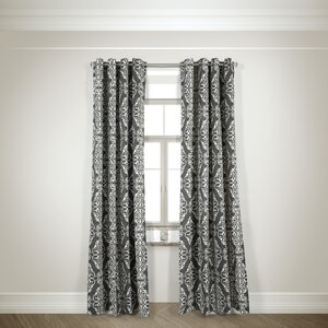 Arias Damask Semi-Sheer Grommet Curtain Panels (Set of 2)