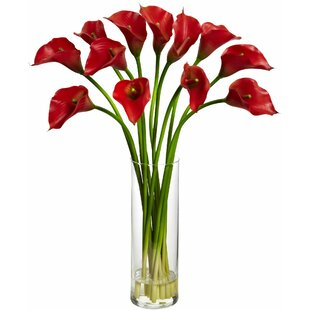 Lily artificial flowers youll love wayfair mini calla lily silk flower arrangement with vase mightylinksfo