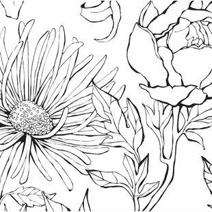 Floral botanical wallpaper youll love wayfair malbon botanical garden hand drawn flowers art 4 piece peel and stick wallpaper panel mightylinksfo