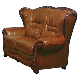 Wood Trim Leather Loveseat
