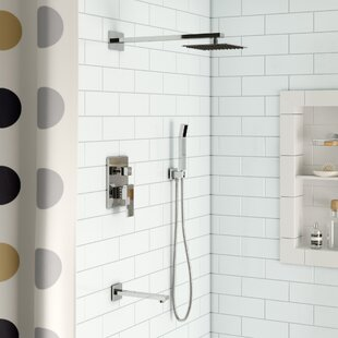 Cahoon Diverter Complete Shower System With Square Rain Tub Filler And Handheld Includes Rough In Valve