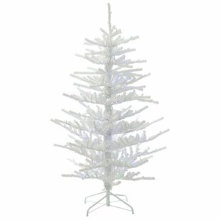 55 flocked whitegreen twig artificial christmas tree with 250 led multi colored lights with stand