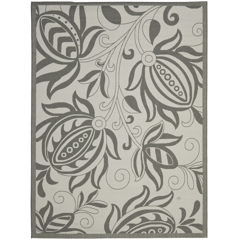 August Grove Laurel Light Grey/Anthracite Indoor/Outdoor Area Rug, Size: Rectangle 67 x 96