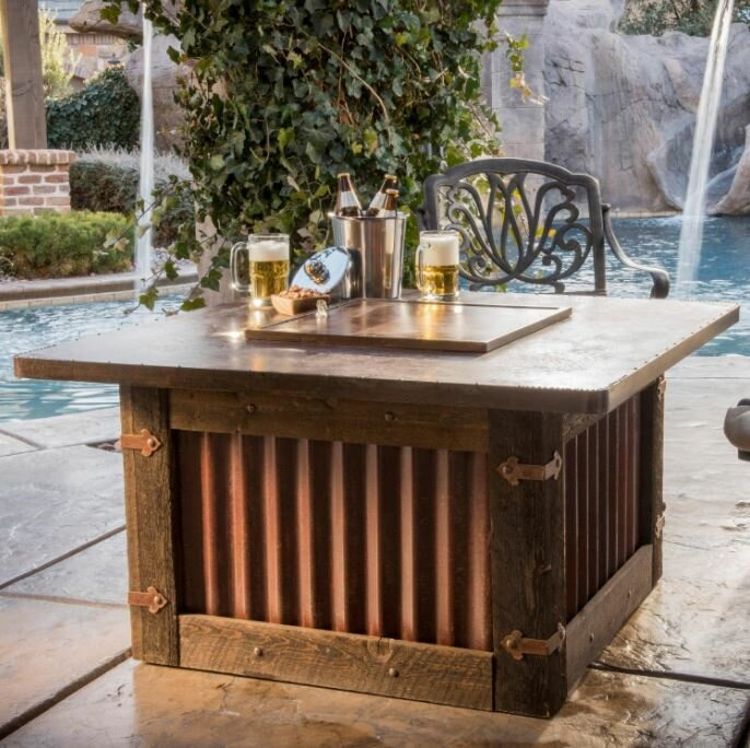 beautiful Gas Fire Pit Tables Part - 15: Homesteader Steel Natural Gas Fire Pit Table