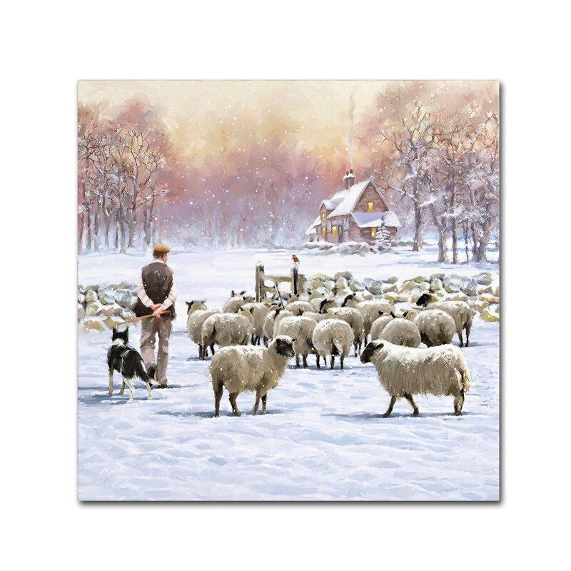 'Sheep Shepherd' Print on Canvas