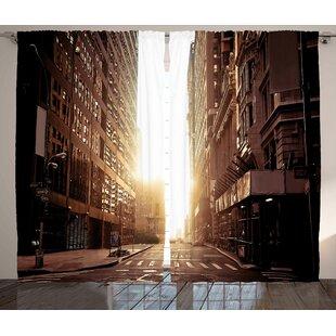 Street Graphic Print Room Darkening Rod Pocket Curtain Panels Set Of 2