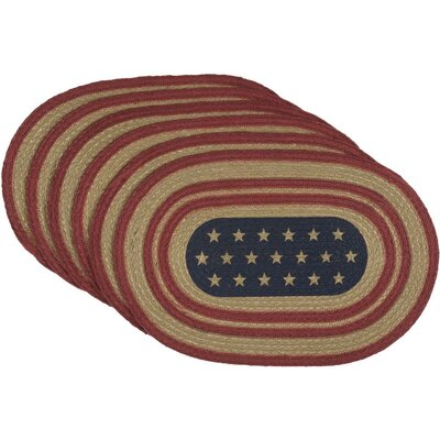 """August Grove Ohta Star Flag Oval Jute 18"""" Placemat"""