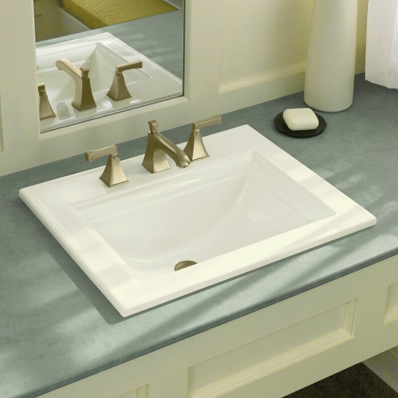 Memoirs Ceramic Rectangular Drop In Bathroom Sink With Overflow