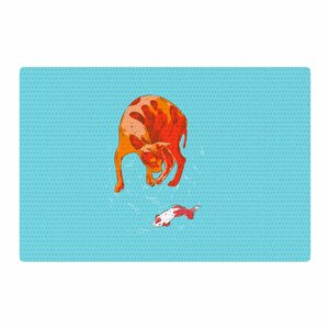 BarmalisiRTB Koi Cat Aqua/Orange Area Rug