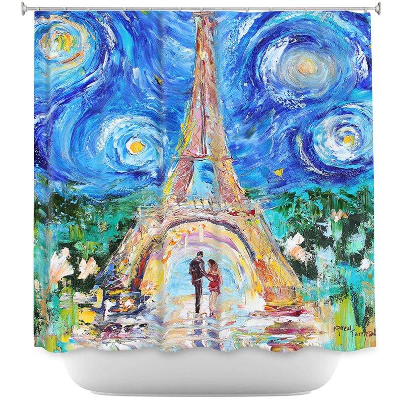 Eiffel Tower Starry Night Shower Curtain