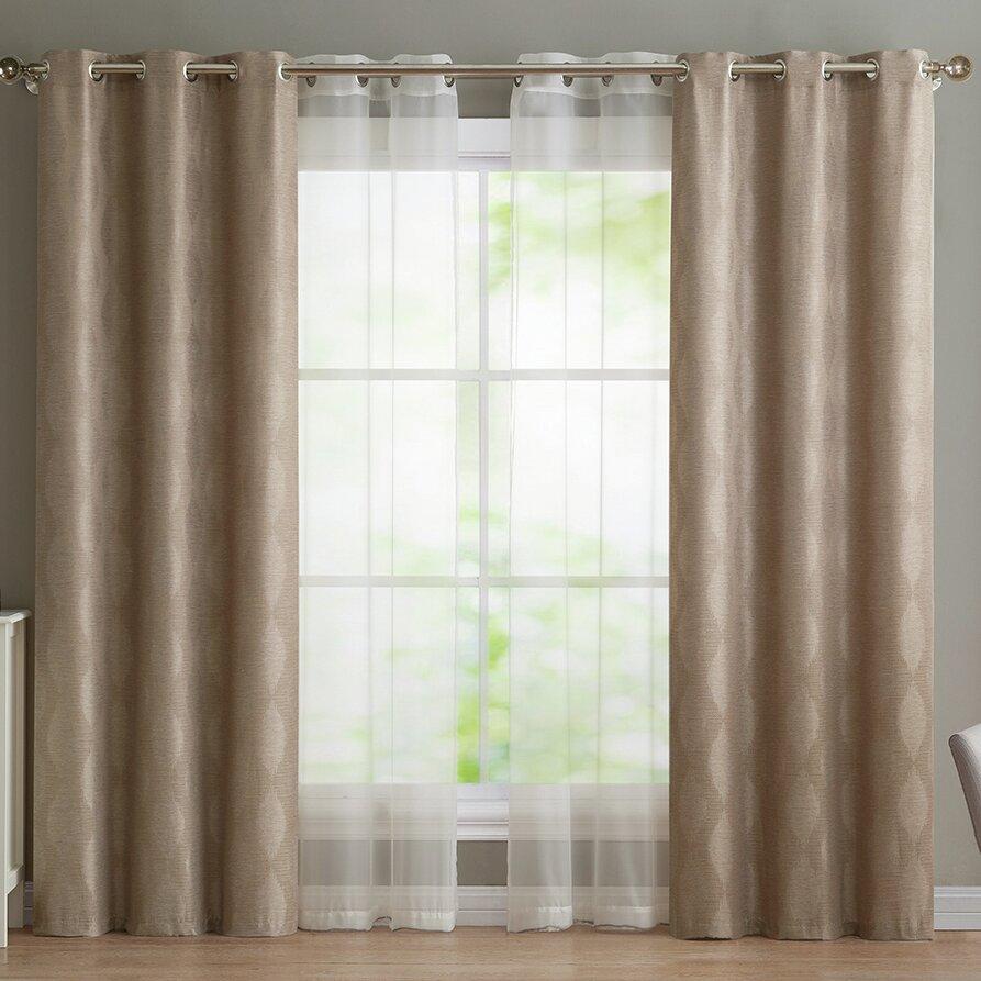 Charlton Home Aspinwall Geometric Semi Sheer Grommet Curtain Panels Reviews