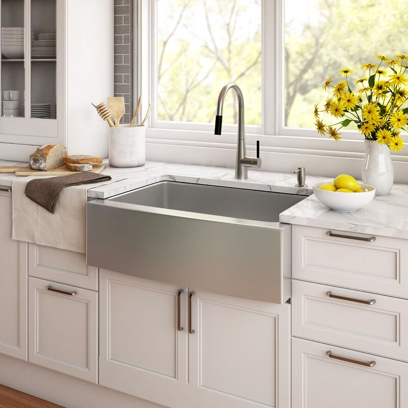 30 x 21 farmhouse kitchen sink with drain assembly - Farmhouse Kitchen Sinks