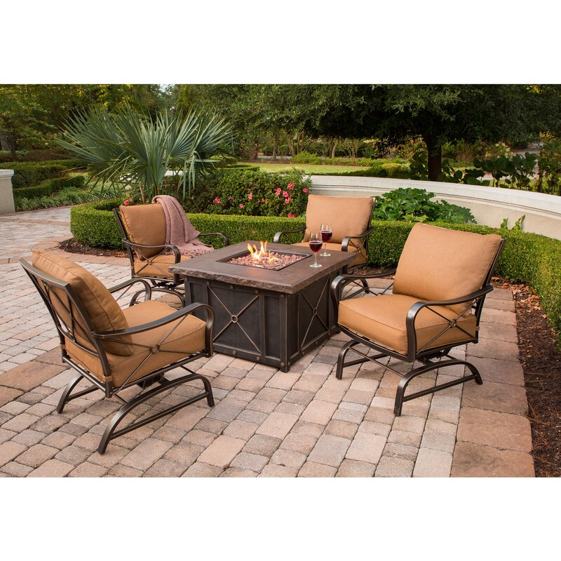 Sweeny 5 Piece Fire Pit Seating Group With Cushions