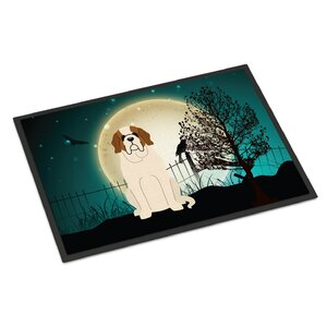 Halloween Scary Saint Bernard Doormat