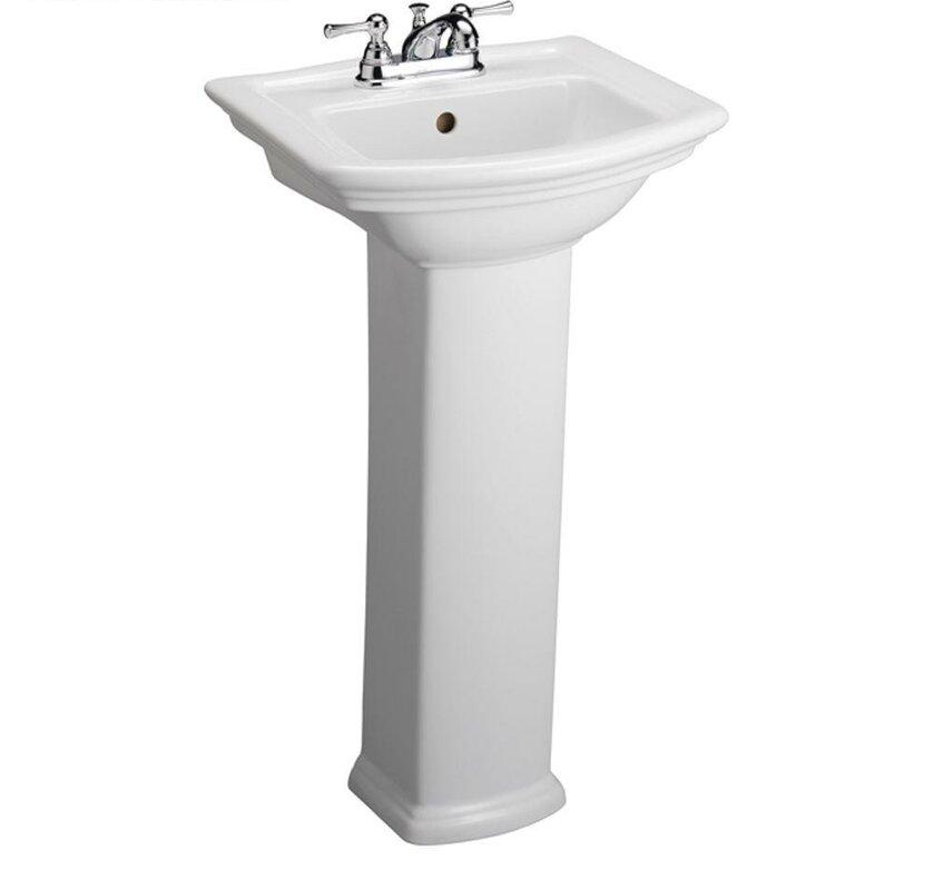 Washington 460 Vitreous China 19 Pedestal Bathroom Sink With Overflow