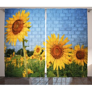 Sunflowers Rustic Home Decor Graphic Print Room Darkening Rod Pocket Curtain Panels Set Of 2