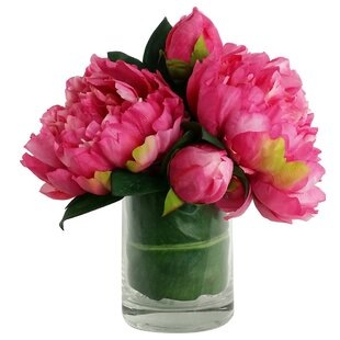 Flower centerpieces youll love wayfair artificial silk peony floral arrangements in decorative vase mightylinksfo Gallery