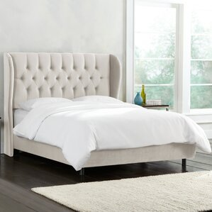 wamsley tufted wingback linen upholstered panel bed