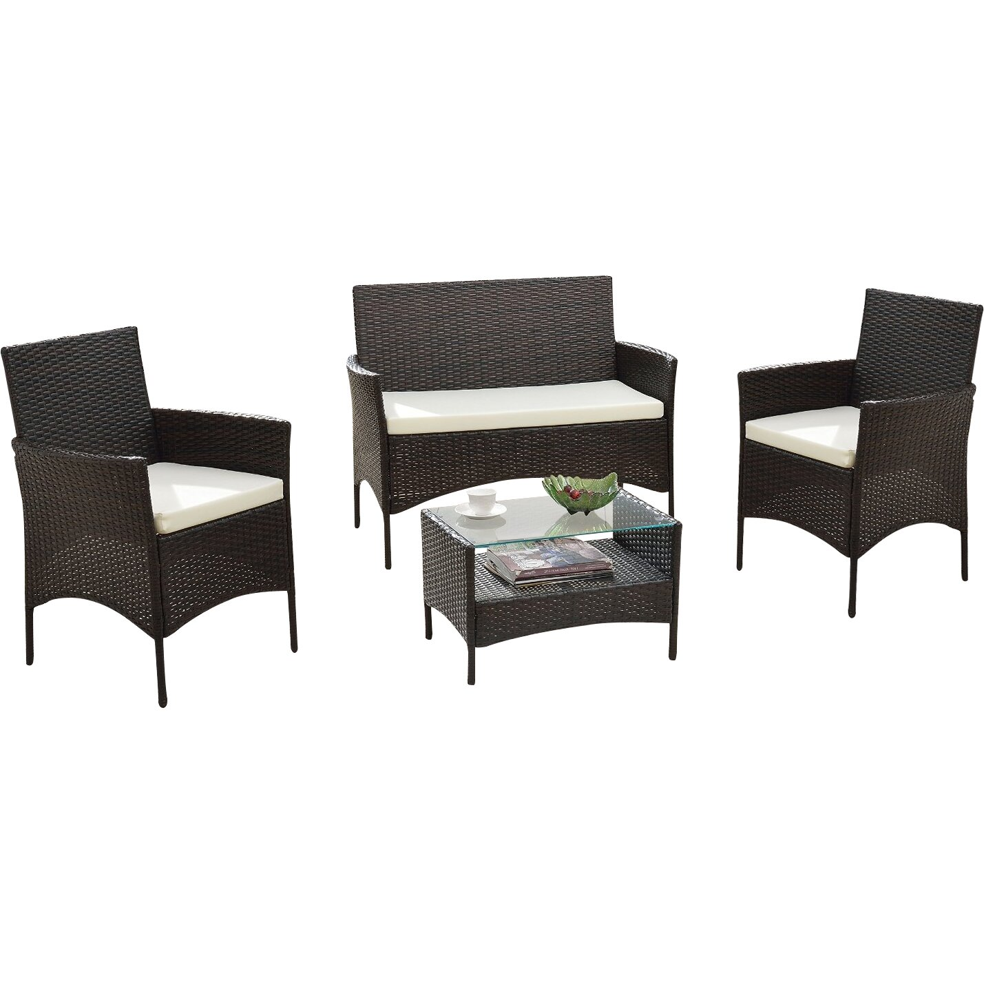 Woodland Park 4 Piece Patio Deep Seating Group With Cushions