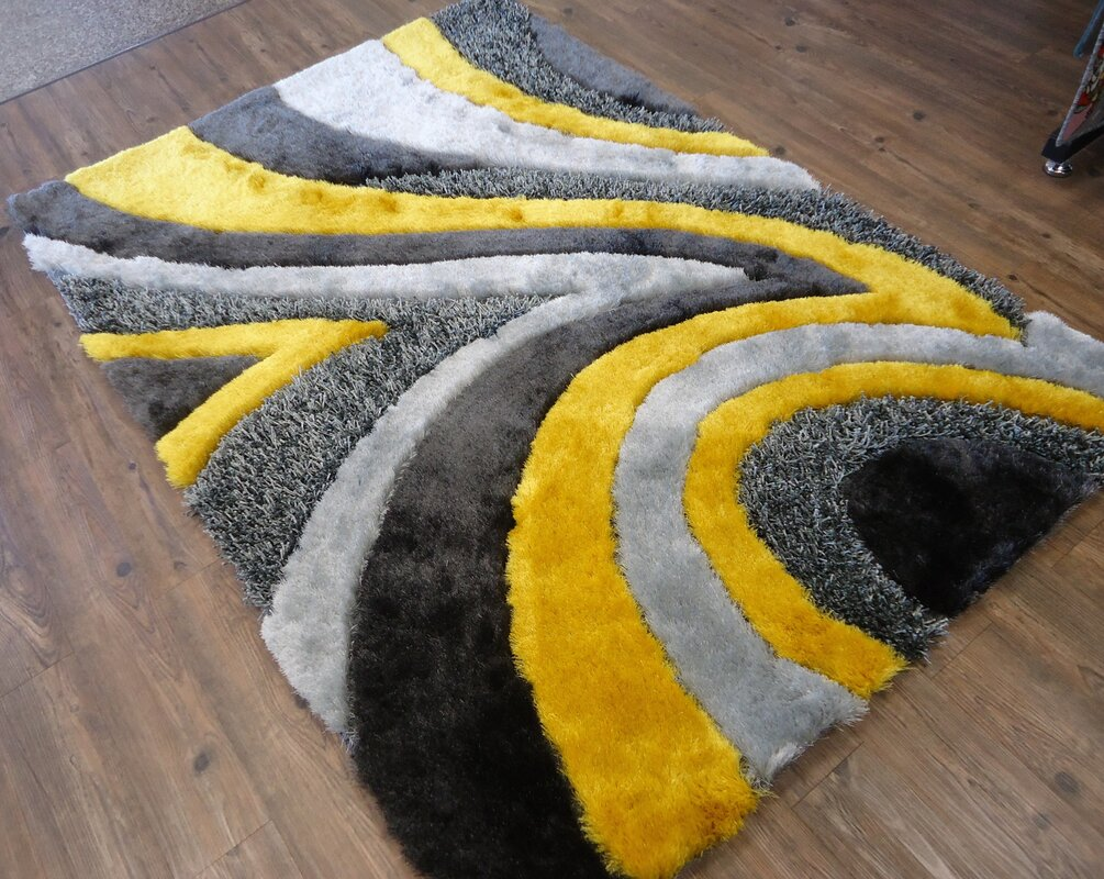 Hand Tufted Gray/Yellow Area Rug