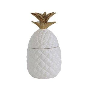 Jopling White and Gold Ceramic Pineapple Jar