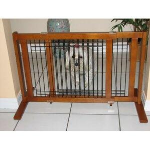 Freestanding Wood U0026 Wire Pet Gate
