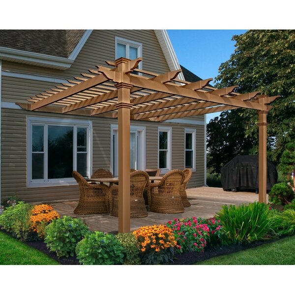 New England Arbors Kennedy Attached Composite 12 Ft W X