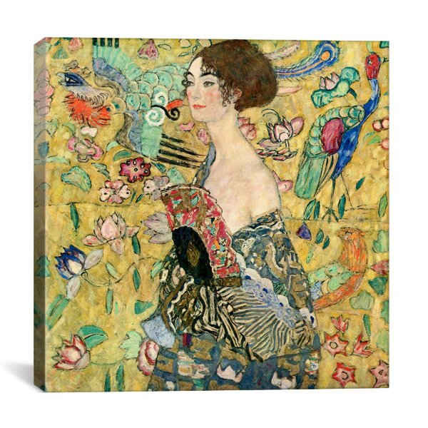 Lady With A Fan By Gustav Klimt Graphic Art Print