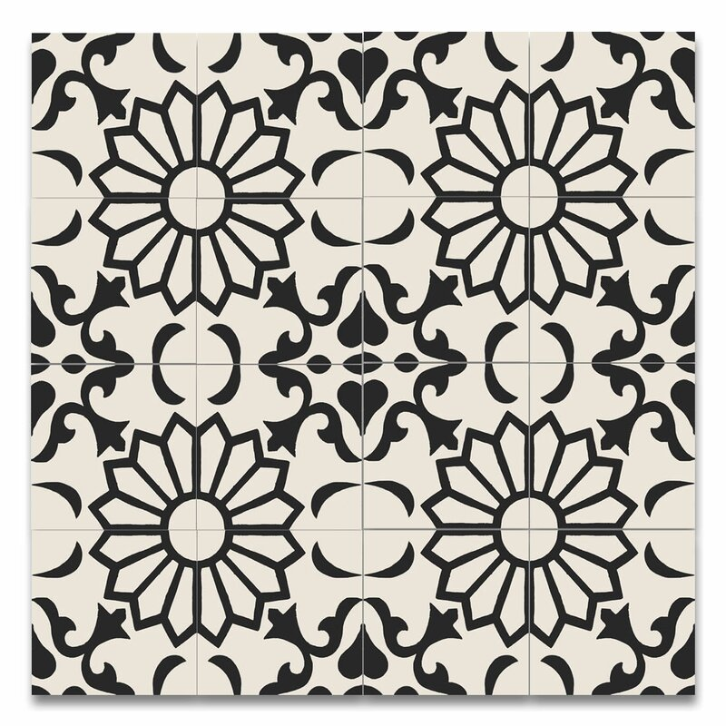Moroccan Mosaic Tile House Taj 8 x 8 Handmade Cement Tile in Black