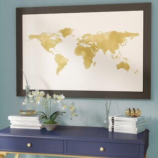 World map framed art youll love wayfair world map gold on white graphic art print gumiabroncs Image collections