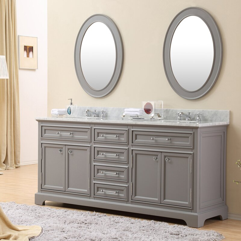 Colchester 72  Double Sink Bathroom Vanity Set with Mirror Grey Darby Home Co