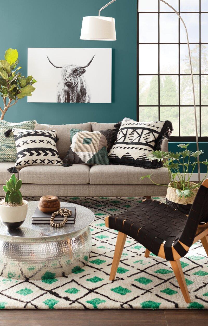Bungalow Green/Black Area Rug