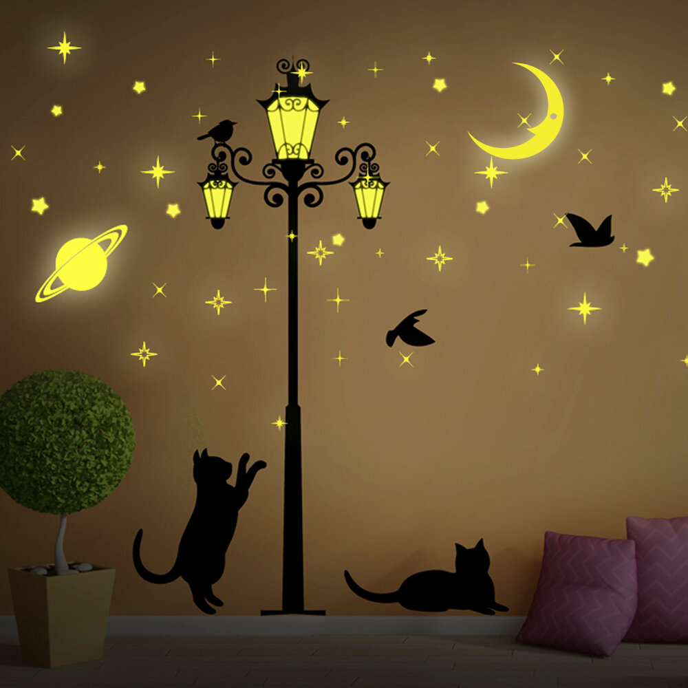Walplus Moon And Stars Glow In Dark Street Light Wall Decal
