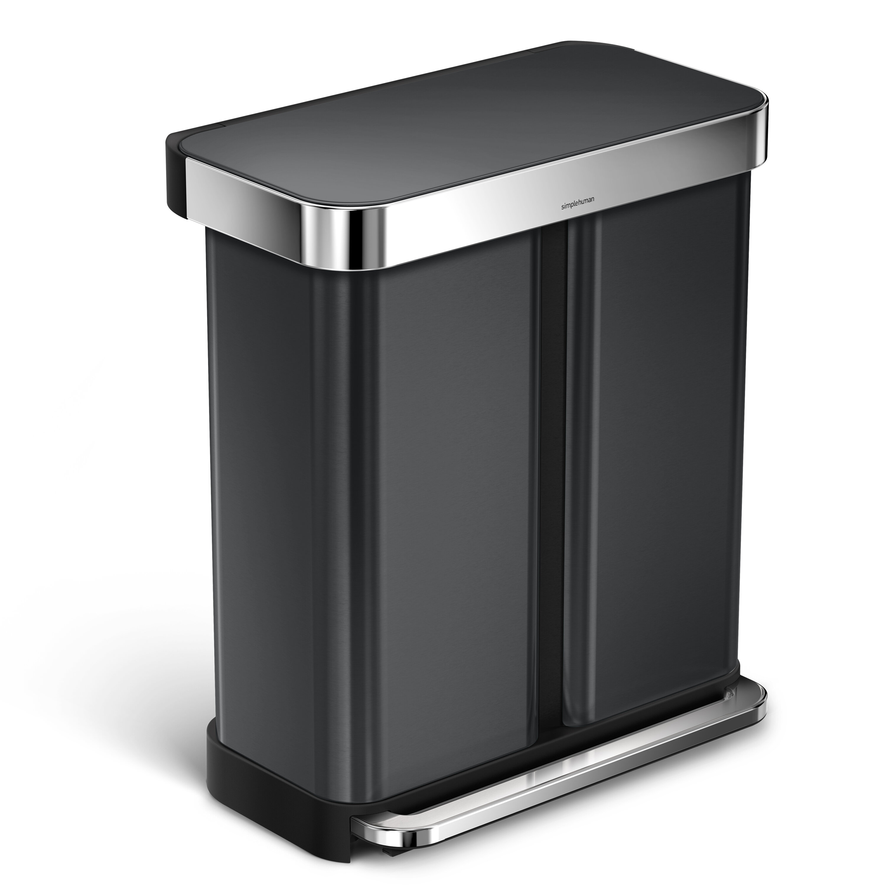Simplehuman 58 Liter Dual Compartment Rectangular Step Stainless Steel Trash Can With Liner Pocket Recycling Reviews Wayfair